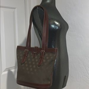 DOONEY & BOURKE Canvas & Leather BUCKET TOTE BAG